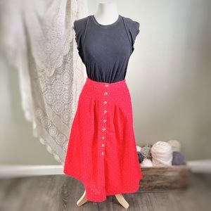 FREE PEOPLE | Red Mini Cord Midi Button Down Skirt